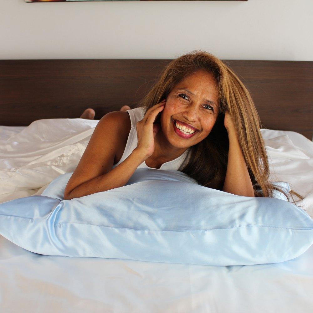 light blue mulberry silk pillowcase online