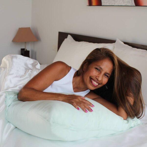 mint green mulberry silk pillow case