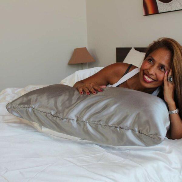 silver satin silk pillowcase