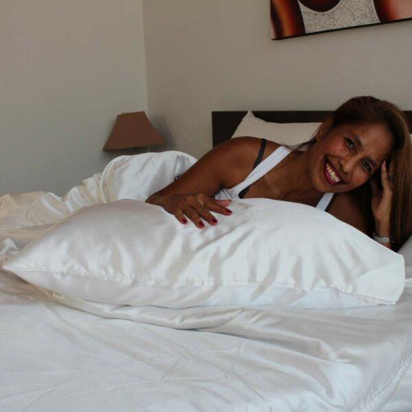white satin silk pillowcase